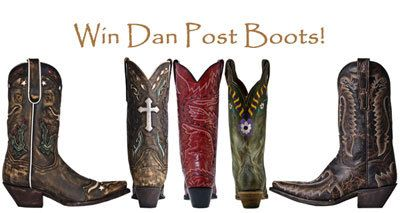 Win your choice of Dan Post Boots in November. (up to $275 in value) We Love our Fans!