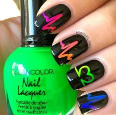 nice Neon heartbeat nail art! Valentine's Day nails...