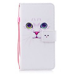 For Apple iPhone 7 7 Plus 6S 6 Plus SE 5S 5 Case Cover White Cat Pattern Painted PU Skin Material Card Stent Wallet Phone Case – NZD $ 14.68