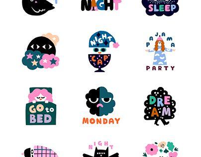 Night time sticker pack for Blinks stickers app. #illustration #leenakisonen #appstickers