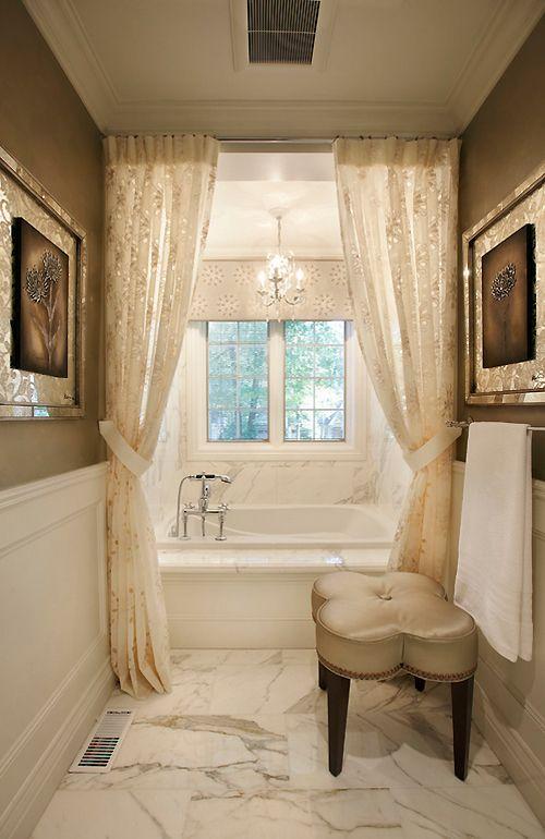 Drapes around the tub