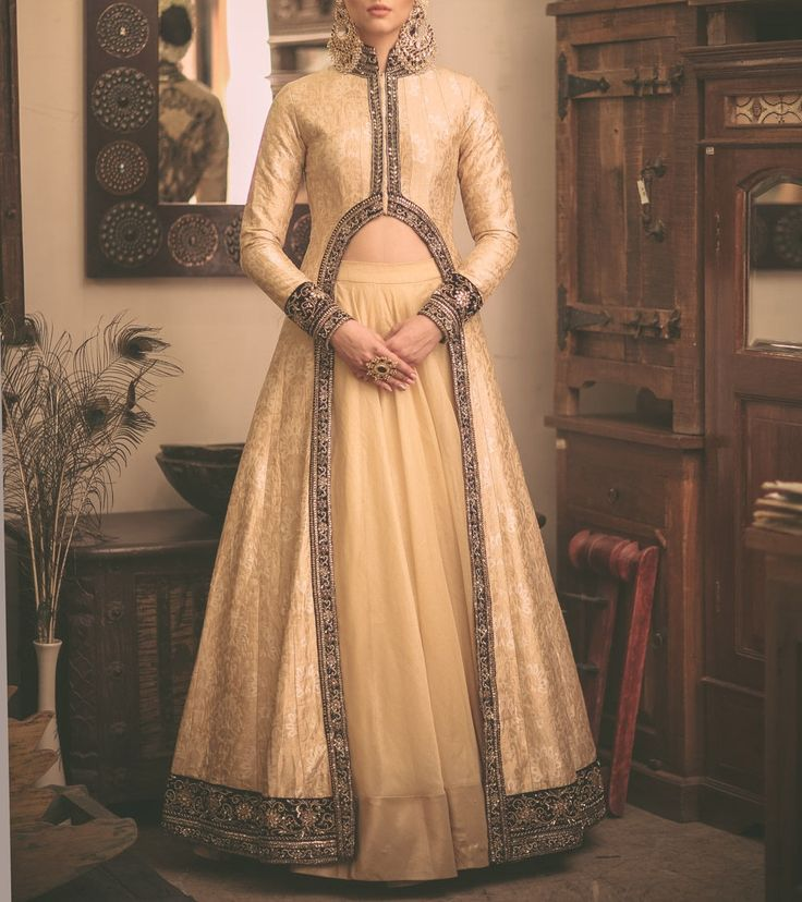 #Beige Zardozi Banarasi #Silk #Lehenga Set by #Megha And #Jigar at #Indianroots