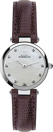 Michel Herbelin Ladies Mother Of Pearl Dial Brown Classic Strap Watch 1043/59BO