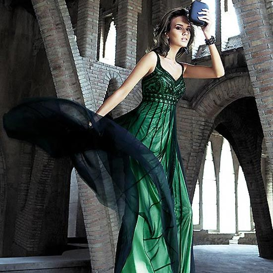 Vestido verde botella con negro