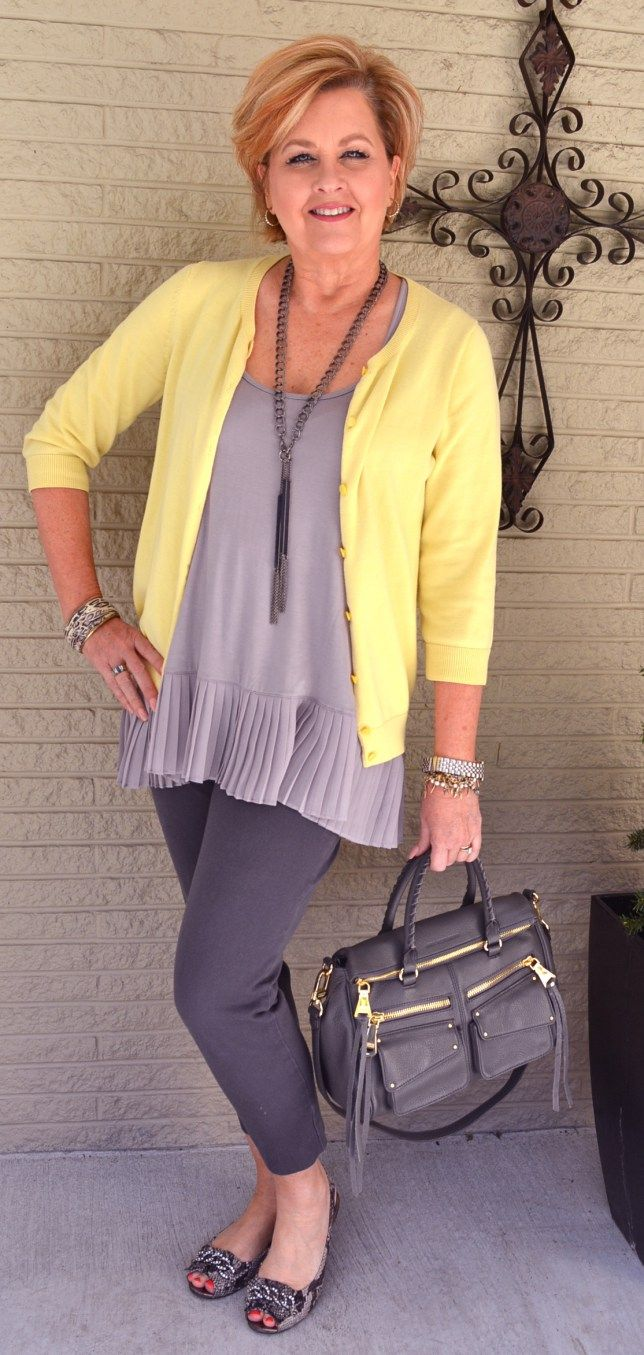 This lady has the best tops to wear under sweaters! I can't wear gray pants though, unless they are almost gray-black.