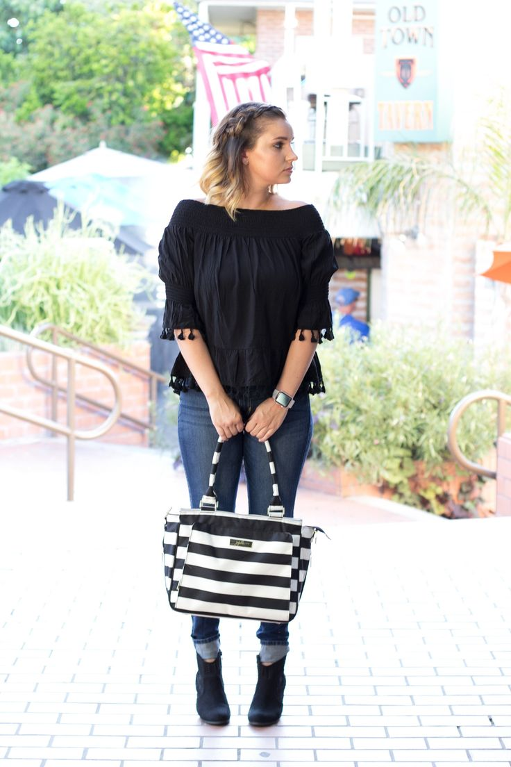 SheIn off the shoulder top, jujube diaper bag