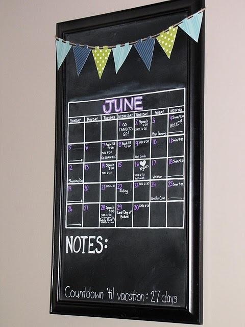 We Love This Super Easy, DIY Chalkboard Paint Calendar.