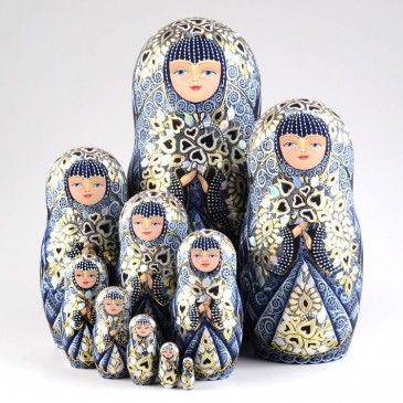 Blue Lace Queen Collectible Doll The amount of fine detail on this blue lace queen collectible nesting doll is simply mesmerizing. All the depicted white lace on the dark bl...