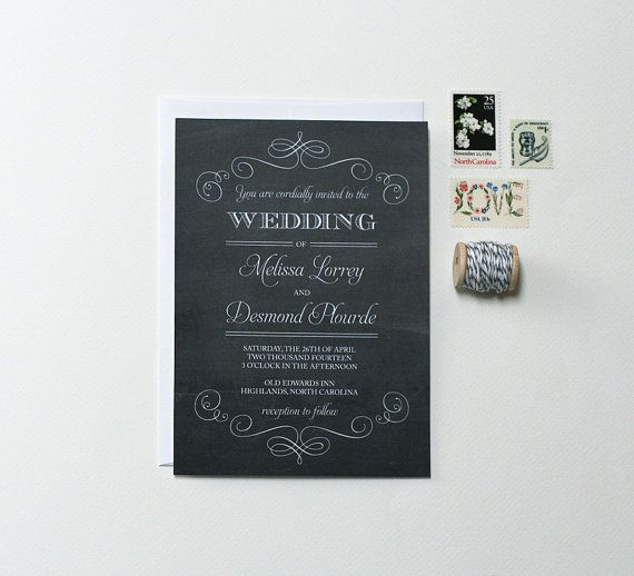 Hey, I found this really awesome Etsy listing at http://www.etsy.com/listing/150990394/chalkboard-wedding-invitations-vintage