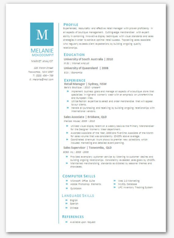 Modern Microsoft Word Resume Template Melanie By Inkpower, $12.00