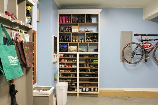 A shoe rack in the garage! I have never seen this before but it's genius.