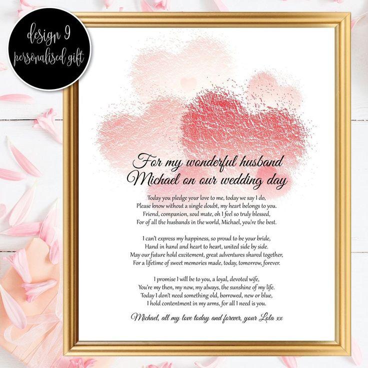 Bride To Groom Gifts Wedding Day Poem Husband My