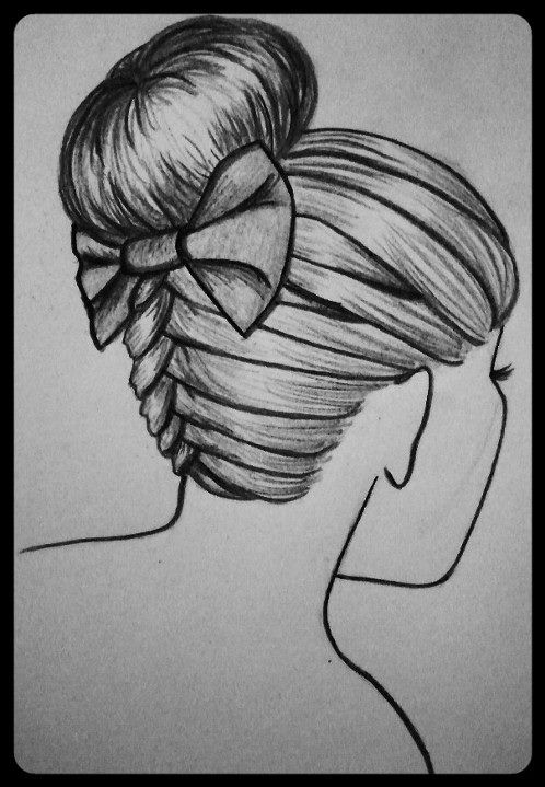 braided bun updo with bow drawing