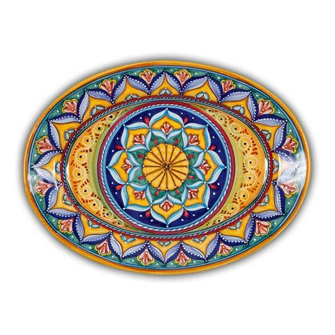 Italian Pottery Outlet - hand made and hand painted Deruta Geometrico Oval Ceramic Platter