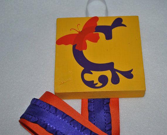 Yellow, Purple and Orange C Butterfly Custom Hair Bow Holder