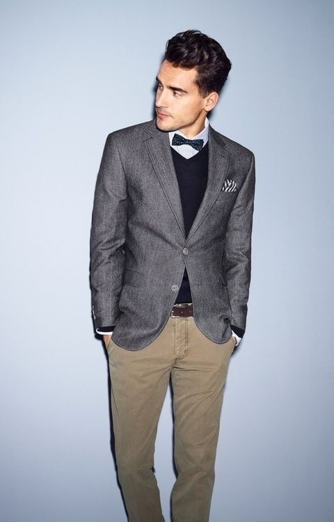 'Date Night Outfit' Gray Jacket, Black Sweater, Khaki Chinos,and Black Bow Tie. Men's Spring Summer Fashion.