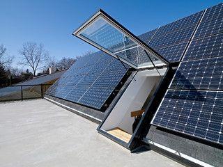 Net Zero Energy Home: solar panels around roof window, roof access | Solar energy - Zonenergie | Pinterest | Solar, Window and Solar roof