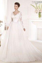 Tarik Ediz свадебные платья с длинными кружевными рукавами