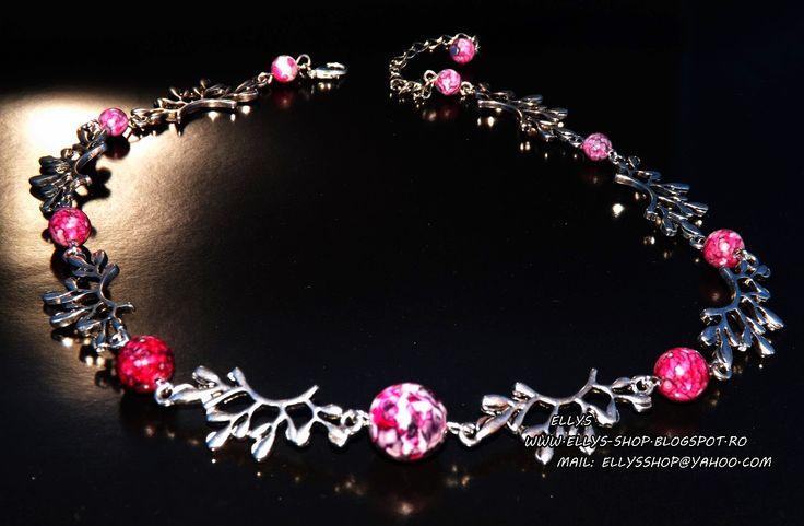 Ellys Shop: Colier agata rain flower in nuante de mov, roz, al...