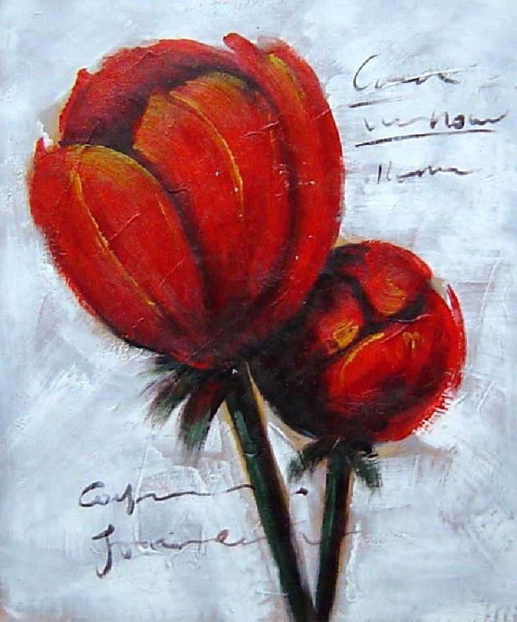 Peinture moderne fleurs oranges for Peinture sur toile moderne