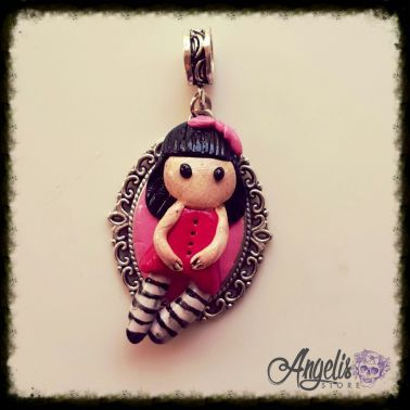 Handmade Polymer Clay Lolita Girly with Cameo Pendant