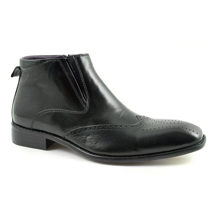 Cool mens black brogue boots crafted in leather. These zip up mens boots with a touch of brogue show your dedication to style. Stand out. Free del to boot!