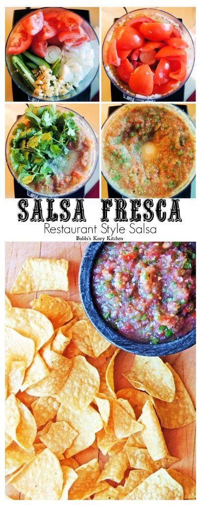 Salsa Fresca (Restaurant Style Salsa) - Fresh restaurant style salsa at home in a matter of minutes! From www.bobbiskozykitchen