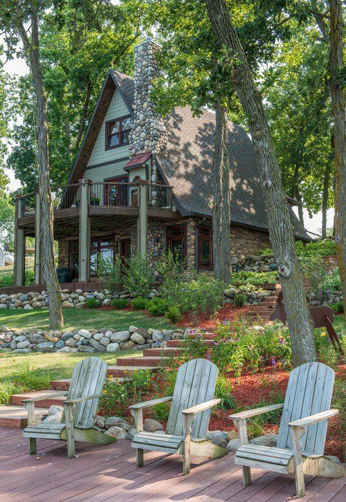 "This is the life! Adorable ""A Frame"" on a beautiful lake. Watch my boys fish. Sit by a fire pit in those chairs with a glass of bubbly. Open floor plan. Playing cards on the deck. Have my cottage garden. Perfection!"