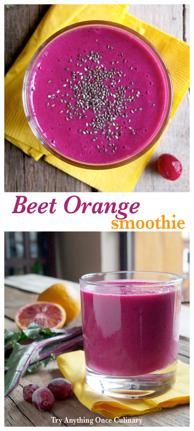 A Beet Orange Smoothie from tryanythingonceculinary.com is a bright and pleasant way to start the day! It's worth waking up for. Orange adds brightness and a little honey (or your favorite sweetener) enhances the beets natural sweetness. (@tryanything1)