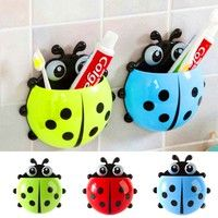 Lovely cute animal cartoon design bathroom toothbrush suction holder storage mount. Suction cup ea