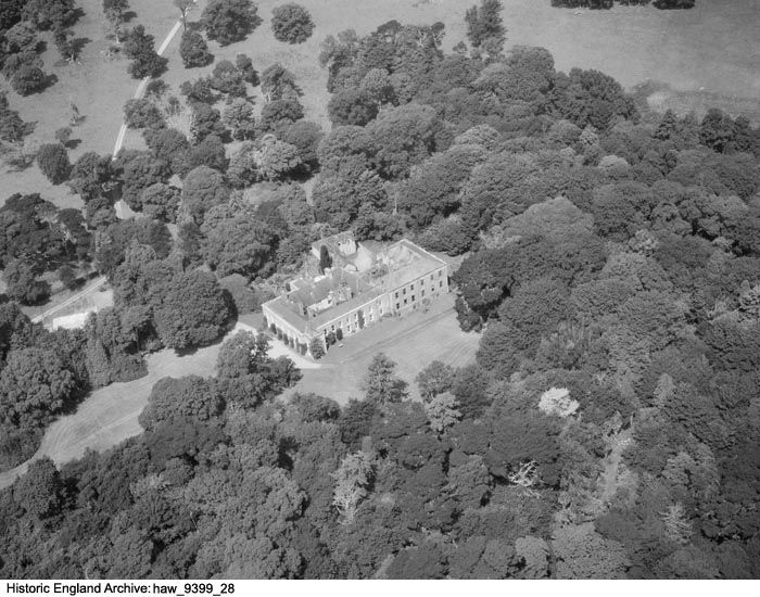HAW01/09399/28. Aerial view of Menabilly, home of Daphne Du Maurier, Fowey, Cornwall. 30 July 1959, Harold Wingham. Please click for more information or to search our collections.