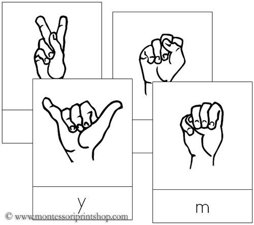 American Sign Language Letter Cards - Printable Montessori Language Materials for Montessori Learning at home and school.