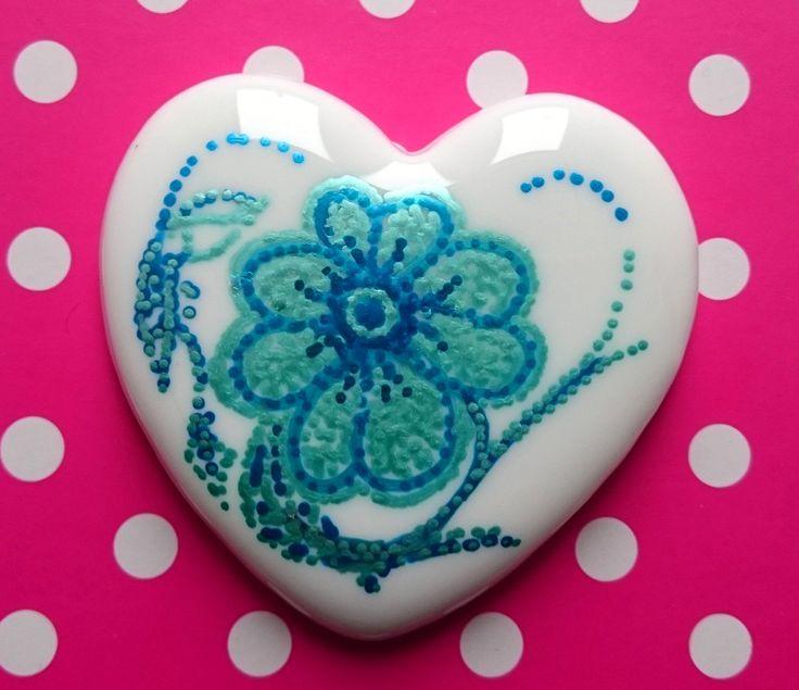 Little Hearts #20: handpainted art on a little white heart by TheBigLittleArtShop on Etsy