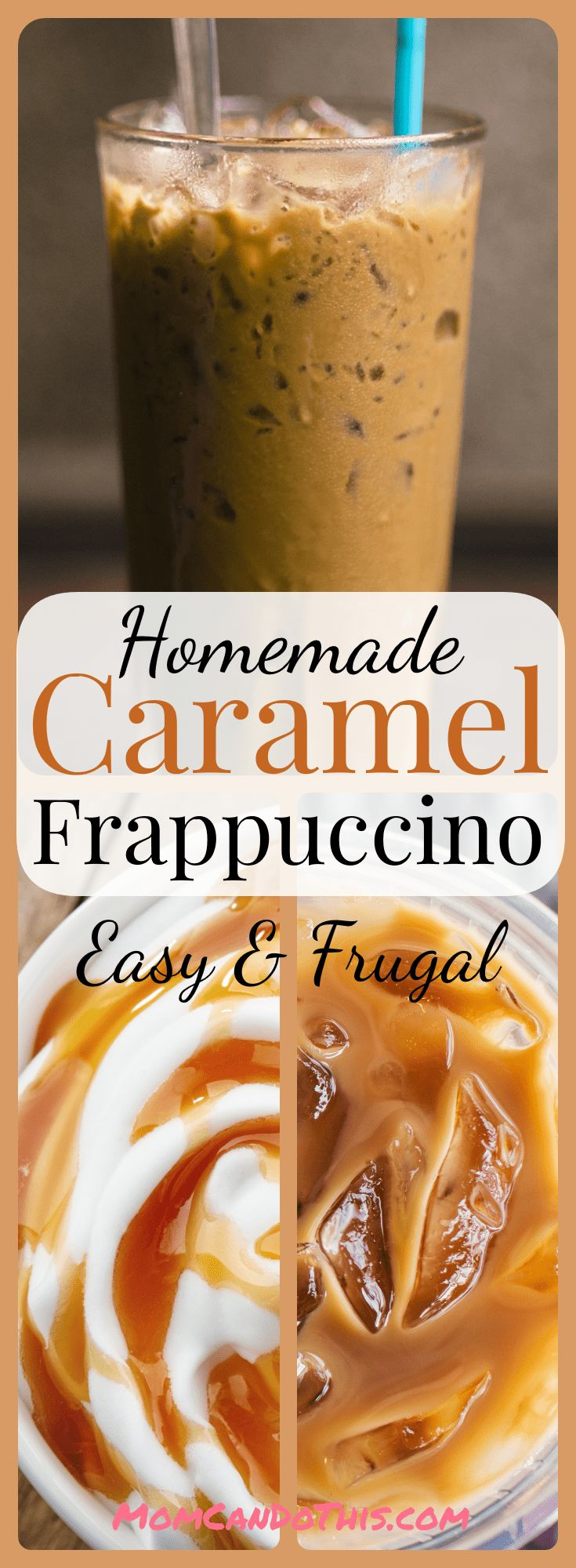 Simple Recipe For Homemade Caramel Frappuccino. Click through to print recipe and try this one today. My new super favorite coffee drink! Easy and frugal homemade frappuccino recipe.