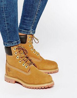 "Бежевые ботинки со шнурками Timberland Premium 6"""