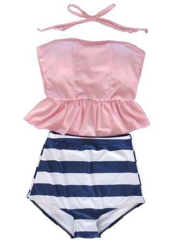 Women's Retro Vintage High Waisted Tankini Skirt Bikini Swimsuit Bath Suit Pink Welity http://www.amazon.com/dp/B00KK9WI56/ref=cm_sw_r_pi_dp_JXgTtb1W2W3M89AK