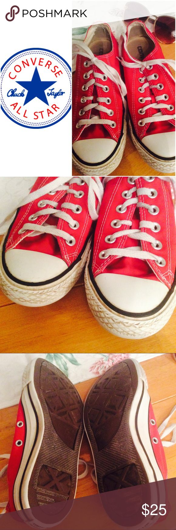 ⭐️ Red Converse Sneakers These cute Converses are well loved, but still in good shape. Some markings and grime on the rubber. Some stains on the laces. Writing on the inside of the tongue. Colors are still bright and adorable! Women's 7, men's 5. Make me an offer! Converse Shoes Sneakers