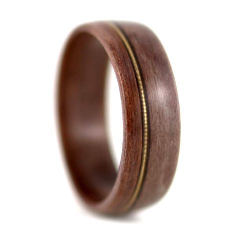 Salvaged Redwood Wedding ring with guitar string inlay