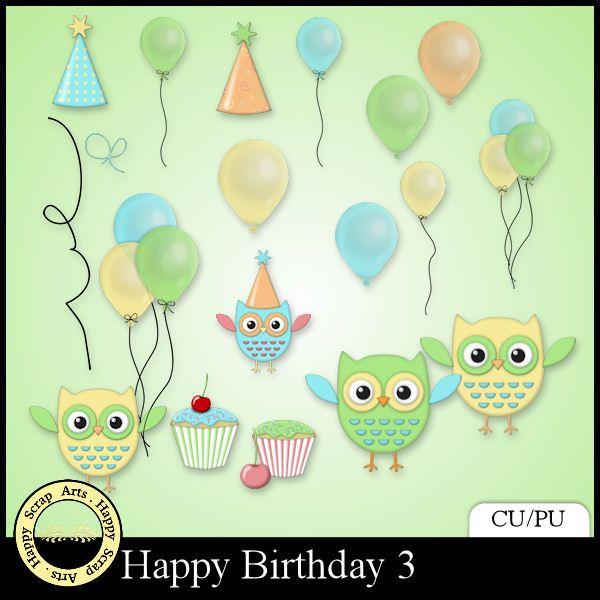 EXCLUSIVE Happy Birthday elements 3 by Happy Scrap Arts