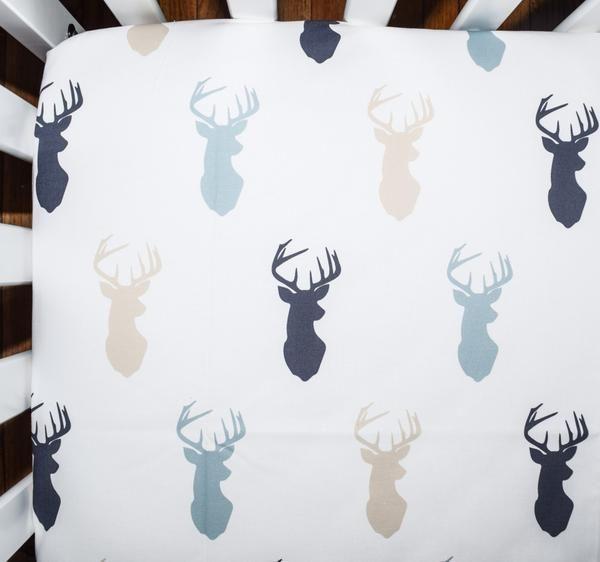 Crib Sheet In Lue And Tan Deer Heads