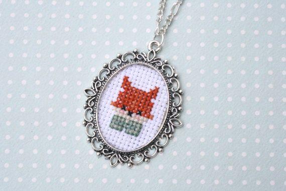 Cute fox cross stitch necklace