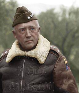 General George Patton Color Tinted Photo World War II 2 WW2 WWII ...