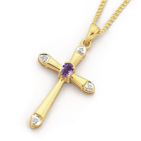 9ct Gold Amethyst & Diamond Oval Cut Cross Pendant