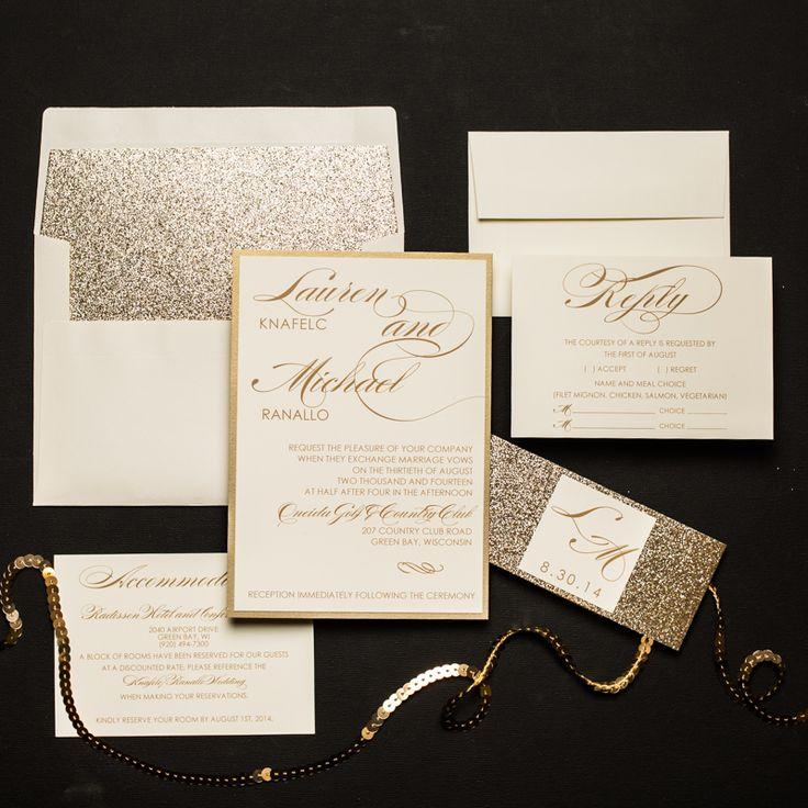 Champagne Glitter Wedding Invitations Too Chic