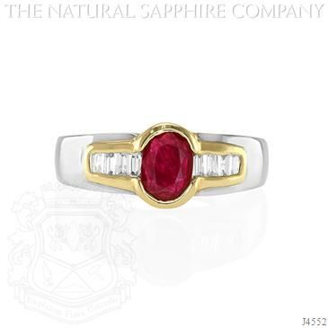 Ruby Ring - J4552. CLASSIC 14K WHITE AND YELLOW GOLD RING WITH CENTER OVAL RUBY AND BAGUETTE DIAMONDS.