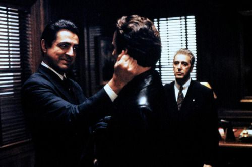 Joe Mantegna as Joey Zasa, Andy García as Vincent Corleone and Al Pacino as Don Michael Corleone in The Godfather: Part III (1990)