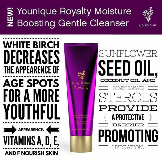 Royalty Moisture Boosting Gentle Cleanser: Boost hydration while cleansing skin with Younique Royalty Moisture Boosting Gentle Cleanser. A unique blend of oils gives your skin the moisture it craves while special vitamins and plant extracts clean skin and help reduce the appearance of age spots. Created for normal-to-dry skin.
