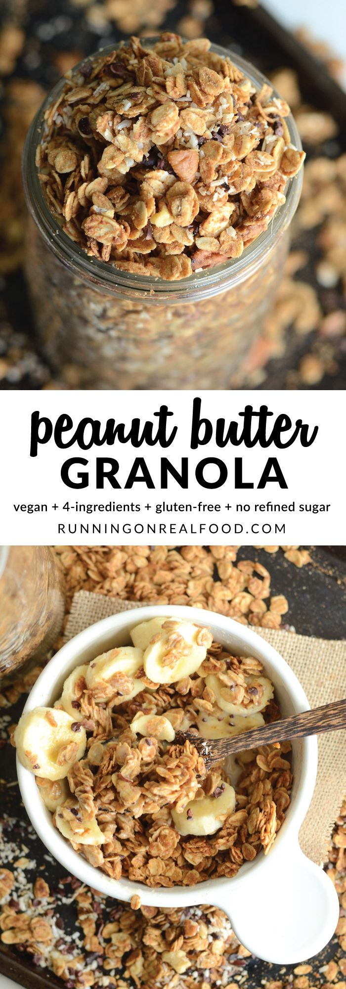 You only need 4 wholesome ingredients to make this crazy good Easy Peanut Butter Granola! It's amazing on it's own or even better with add-ins like nuts, chocolate chips and coconut! #ad #vegan #glutenfree  Get the recipe: http://runningonrealfood.com/peanut-butter-granola/