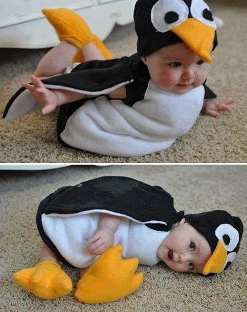 Baby in penguin suit