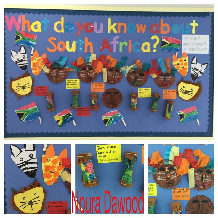 Our unit is (Places People Go) and i chose South Africa for the bulletin board and made (masks, drums, animal and flags) Loved the colorful spirit